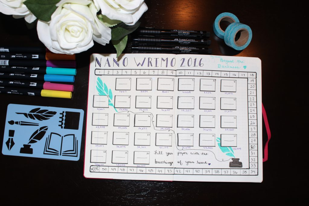 NaNo WriMo Bullet Journal Word Count Tracker