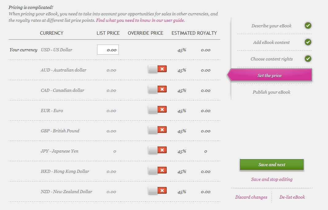 How to publish an ebook on kobo when you enter a list price in the top box kobo will automatically calculate a price for the remaining territories that is based on this original us price fandeluxe Images